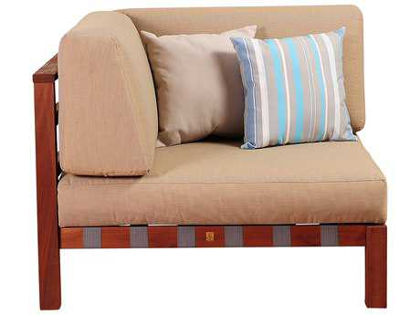 International Home Miami Amazonia Eucalyptus Derbyshire Eucalyptus Sectional Corner Piece with Khaki Cushions by Jamie Durie