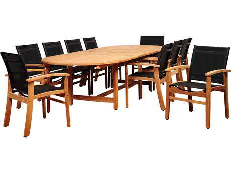 International Home Miami Amazonia Teak Edenton 11 Piece Double-Extendable Oval Dining Set with Black Sling Chair