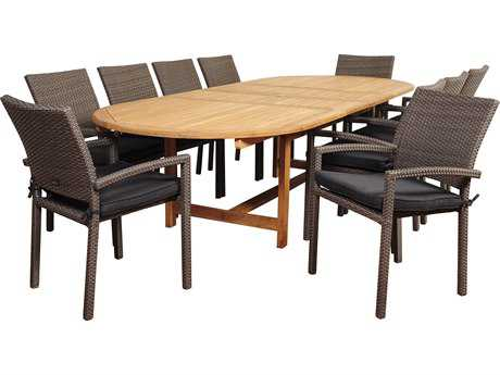 International Home Miami Amazonia Teak/Wicker City Villa 11 Piece Double-Extendable Oval Dining Set with Grey Cushions