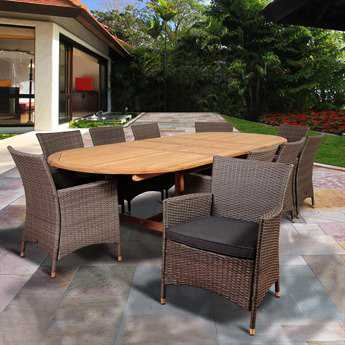International Home Miami Amazonia Teak/Wicker Harrison Park 11 Piece Double-Extendable Oval Dining Set with Grey Cushions