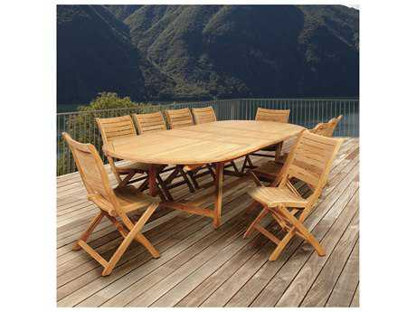 International Home Miami Amazonia Savona 11 Piece Teak Double-Extendable Oval Dining Set