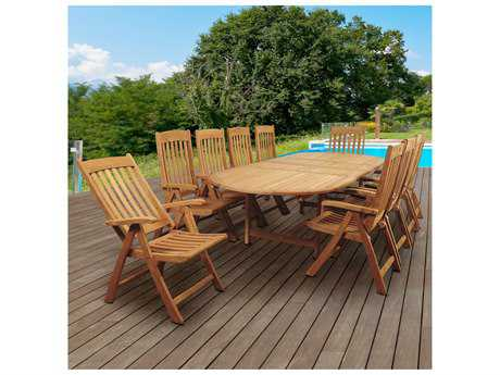International Home Miami Amazonia Griffin 11 Piece Teak Double-Extendable Oval Dining Set