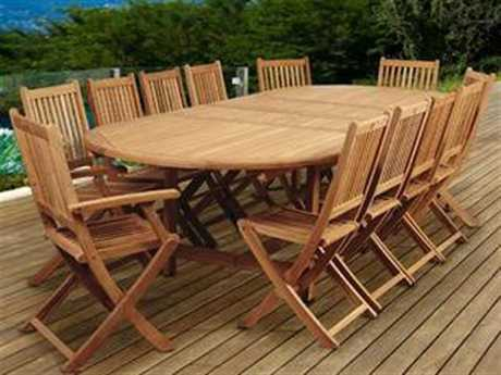 International Home Miami Amazonia Highland Park 13 Piece Teak Double-Extendable Oval Dining Set