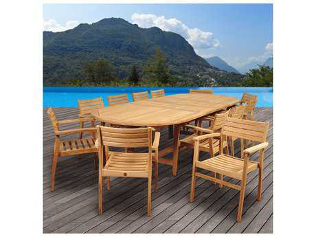 International Home Miami Amazonia Mondavi 13 Piece Teak Double-Extendable Oval Dining Set
