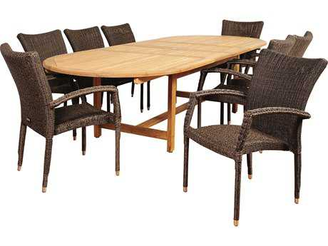 International Home Miami Amazonia Teak/Wicker Ocean Grove 9 Piece Double-Extendable Oval Dining Set