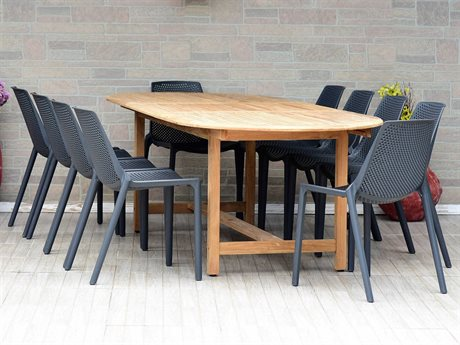 International Home Miami Amazonia Madrid 11 Piece Oval Wood Dining Set