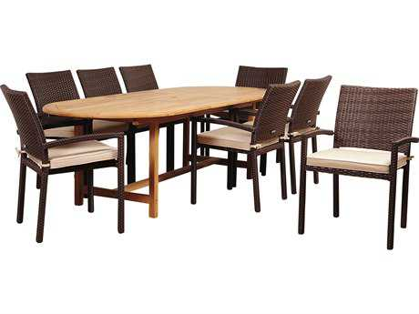 International Home Miami Amazonia Teak Santa Clarita 9 Piece Eucalyptus Rectangular Dining Set with Antique Beige Sunbrella® Cushions