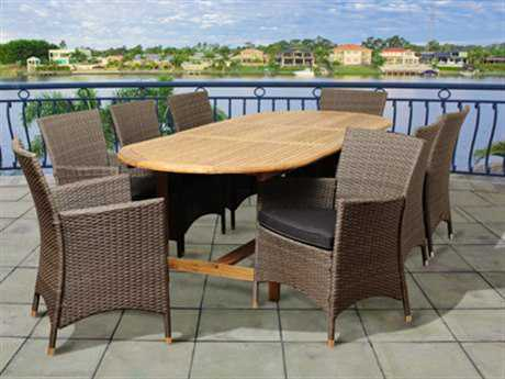 International Home Miami  Amazonia Teak/Wicker Oval Nine Piece Extendable Rayford Dining Set