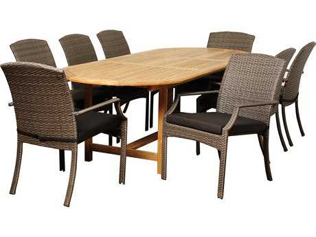 International Home Miami  Amazonia Teak/Wicker Oval Nine Piece Extendable Sam Dining Set PatioLiving