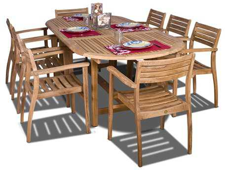 International Home Miami  Amazonia Teak Oval Nine Piece Extendable Coventry Dining Set PatioLiving