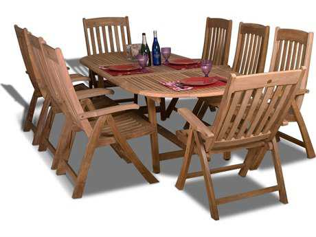 International Home Miami  Amazonia Teak Oval Nine Piece Extendable Belfast Dining Set