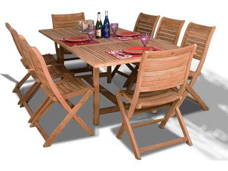 International Home Miami  Amazonia Teak Nine Piece Extendable Rectangular Dublin Dining Set