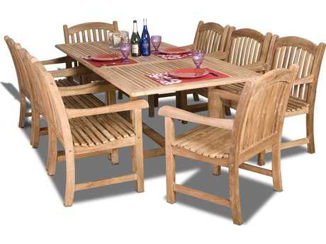 International Home Miami  Amazonia Teak Nine Piece Extendable Rectangular Newcastle Dining Set IMSCDIANRECTSUMBAWAARM