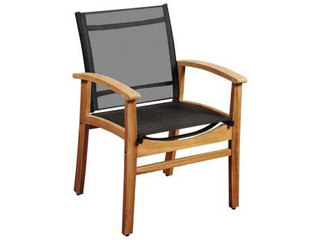 International Home Miami Amazonia Fortuna Teak Dining Armchair with Black Textile Sling