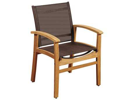 International Home Miami Amazonia Fortuna Teak Dining Arm Chair with Brown Textile Sling PatioLiving