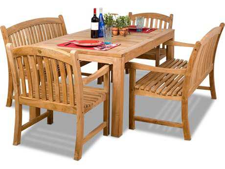 International Home Miami  Amazonia Teak Five Piece Rectangular Geneve Dining Set