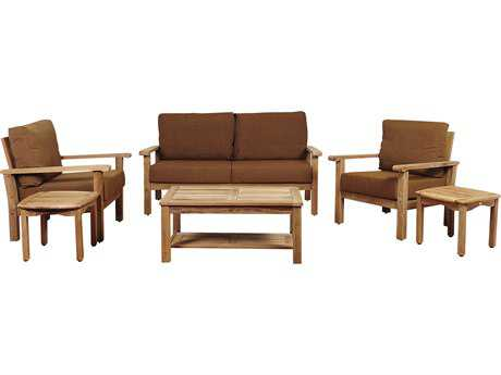 International Home Miami Amazonia Gilli 6 Piece Teak Conversation Set with Sunbrella® Cushions
