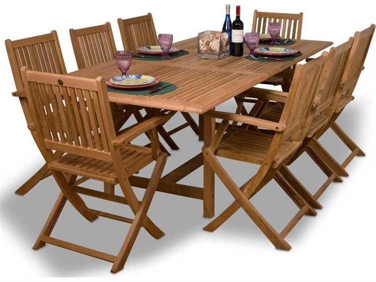 International Home Miami  Amazonia Teak Rectangular Nine Piece Extendable Hamburg Dining Set PatioLiving