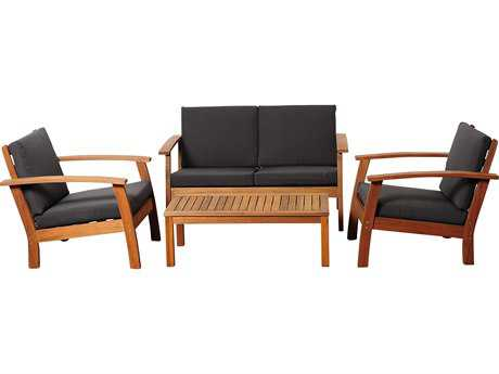 International Home Miami  Amazonia Eucalyptus Four Piece Murano Conversation Set with Black Cushions
