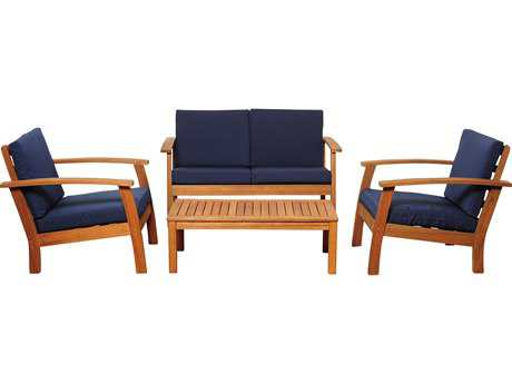 International Home Miami  Amazonia Eucalyptus Four Piece Murano Conversation Set with Blue Cushions PatioLiving