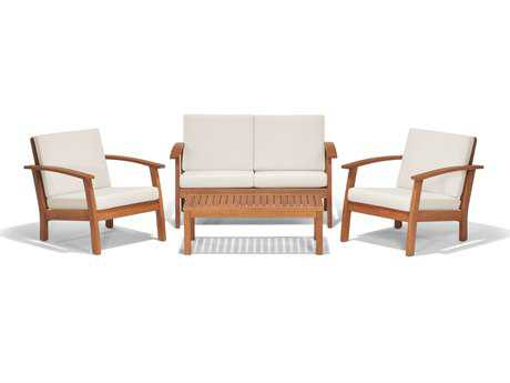 International Home Miami  Amazonia Eucalyptus Four Piece Murano Conversation Set with Off-White Cushions