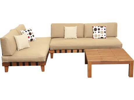 International Home Miami  Amazonia Eucalyptus Three Piece Langkawi Seating Set