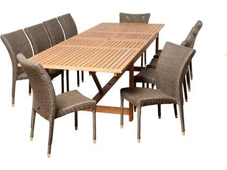 International Home Miami  Amazonia Eucalyptus & Wicker Rectangular 11 Piece Extendable Weston Dining Set
