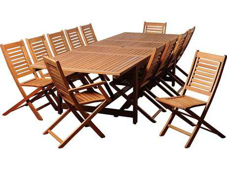 International Home Miami  Amazonia Eucalyptus Rectangular 13 Piece Extendable Brandon Dining Set