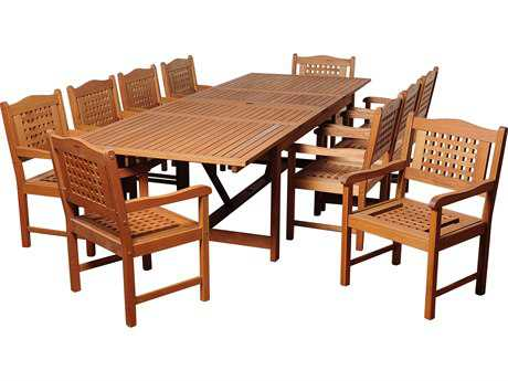 International Home Miami  Amazonia Eucalyptus Rectangular 11 Piece Extendable Deangelo Dining Set