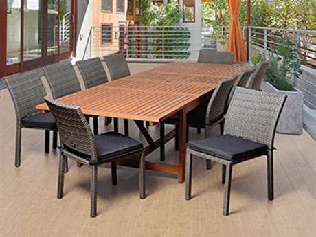 International Home Miami  Amazonia Eucalyptus & Wicker Rectangular 11 Piece Extendable Winston Dining Set with Grey Cushions