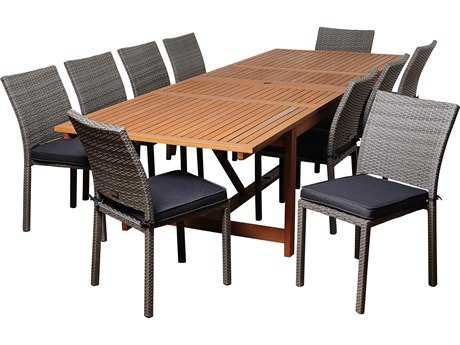 International Home Miami  Amazonia Eucalyptus & Wicker Rectangular 11 Piece Extendable Angelo Dining Set with Grey Cushions
