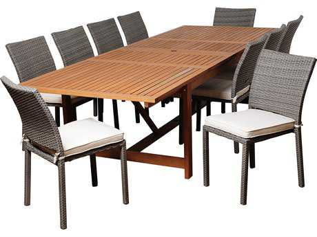 International Home Miami  Amazonia Eucalyptus & Wicker Rectangular 11 Piece Extendable Angelo Dining Set with Off-White Cushions