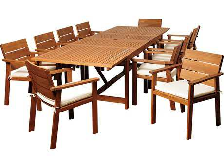 International Home Miami  Amazonia Eucalyptus Rectangular 11 Piece Extendable Gerald Dining Set with Off-White & Beige Striped Cushions