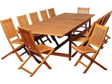 International Home Miami  Amazonia Eucalyptus Rectangular 13 Piece  Extendable Barrett Dining Set