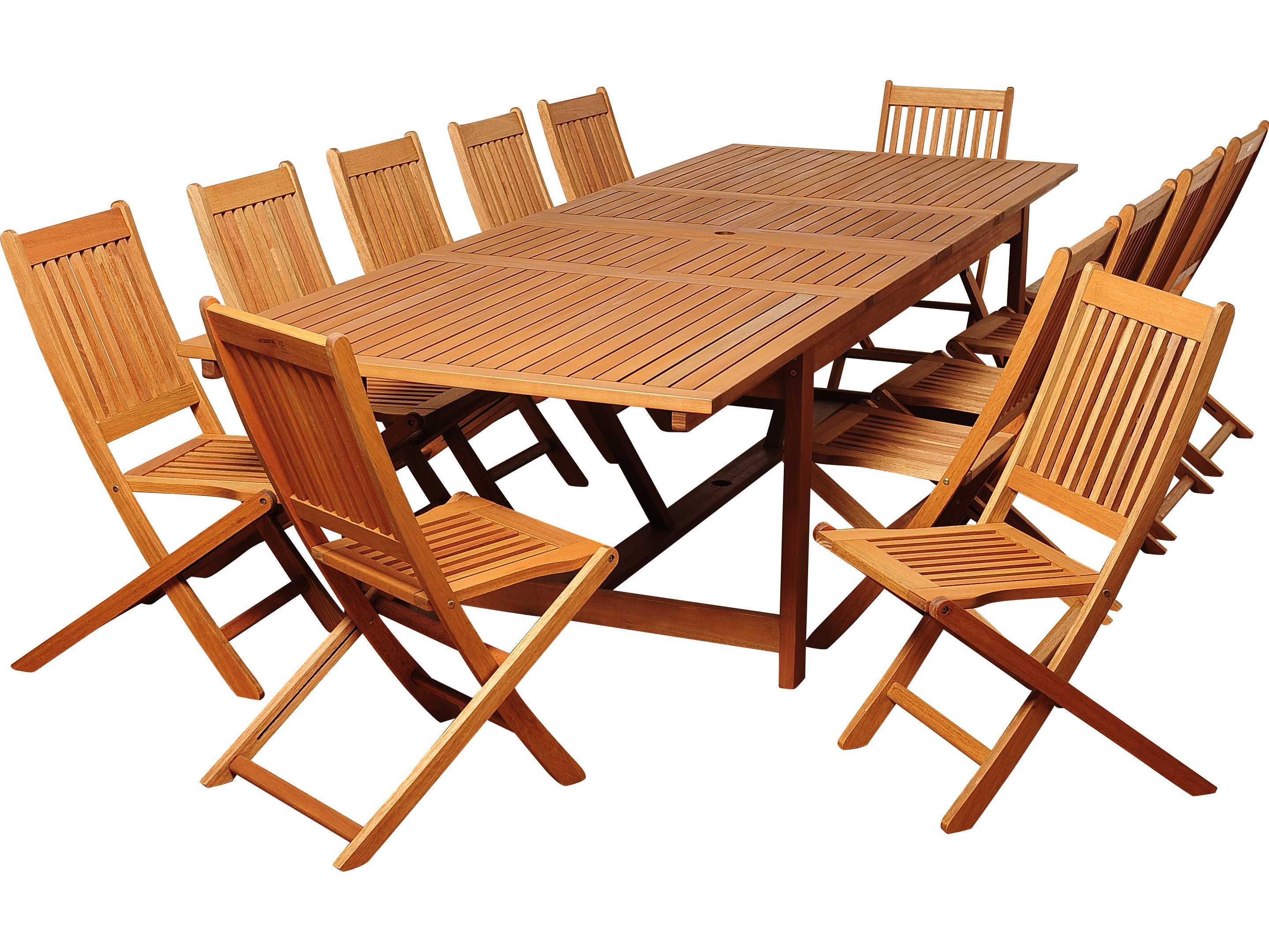 International home miami amazonia eucalyptus rectangular for 13 piece dining table set