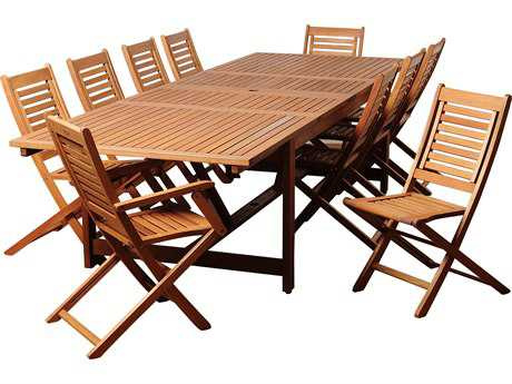 International Home Miami  Amazonia Eucalyptus Rectangular 11 Piece Extendable Brandon Dining Set