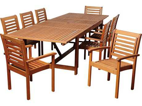 International Home Miami  Amazonia Eucalyptus Rectangular Nine Piece Extendable Brooks Dining Set