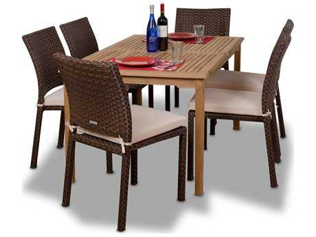 International Home Miami  Amazonia Teak & Wicker Rectangular Seven Piece Luxemburg Dining Set With Off-White Cushions