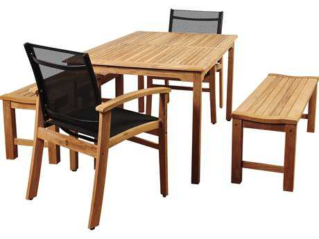 International Home Miami Amazonia Walnut 5 Piece Teak Rectangular Dining Set