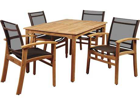 International Home Miami Amazonia New Pacific 5 Piece Teak Rectangular Dining Set with Brown Sling Chair