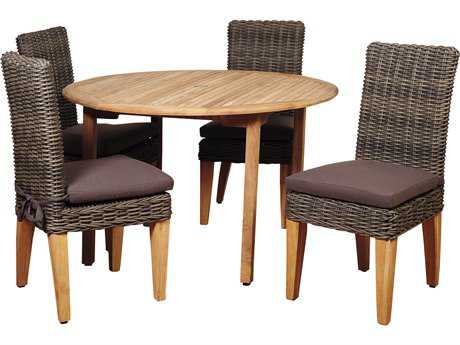 International Home Miami Amazonia Del Mar 5 Piece Teak/Wicker Round Dining Set