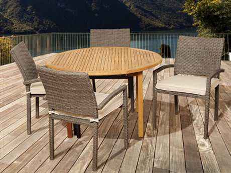 International Home Miami  Amazonia Teak/Wicker Round Five Piece Barry Dining Set with Off-White Cushions