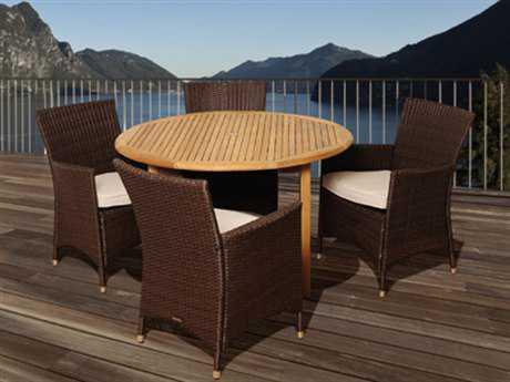 International Home Miami  Amazonia Teak/Wicker Round Five Piece Teak/Wicker Benjamin Dining Set with Off-White Cushions