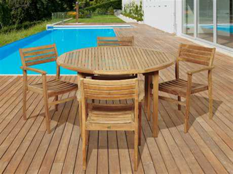 International Home Miami  Amazonia Teak Five Piece Round Alex Dining Set