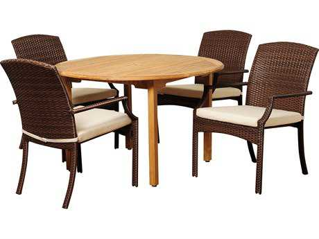 International Home Miami  Amazonia Teak/Wicker Round Five Piece Vincenzo Dining Set with Off-White Cushions