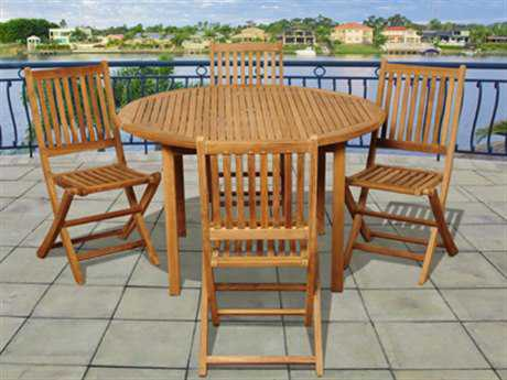 International Home Miami  Amazonia Teak Round Five Piece Adam Dining Set