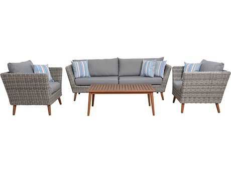 International Home Miami Amazonia Boston 4 Piece Conversation Set with Cushions