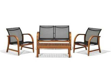 International Home Miami  Amazonia Eucalyptus Four Piece Manhattan Deep Seating Set