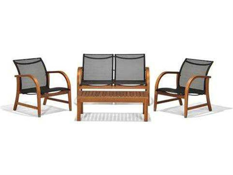 International Home Miami  Amazonia Eucalyptus Four Piece Manhattan Deep Seating Set PatioLiving