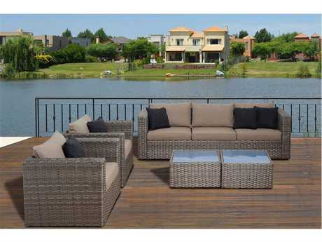 International Home Miami  Mustang 5 Piece Distressed Grey Wicker Conversation Set with Brown Cushions PatioLiving